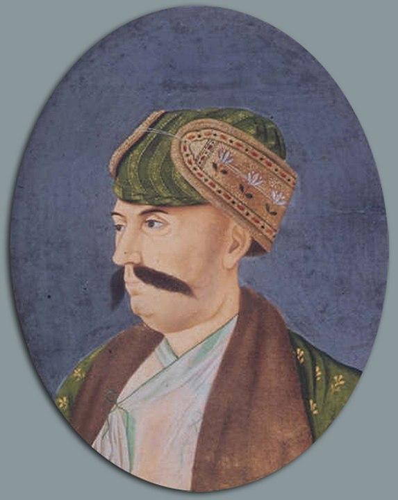 शुजा-उद-दौला (आर। 1753-1775), तीसरा नवाब, बंगाल के अपराधी नवाब मीर कासिम की मदद करने के बाद अंग्रेजों से अलग हो गया।